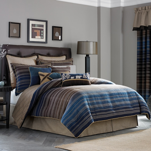 Awesome Croscill Clairmont Chenille Jacquard Woven Stripe 4 Piece Comforter Set
