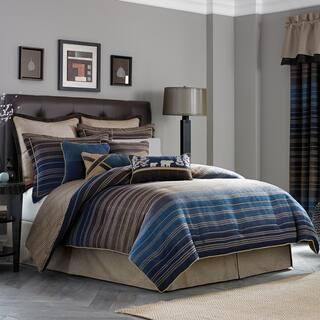 Croscill Clairmont Chenille Jacquard Woven Stripe 4 Piece Comforter Set