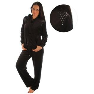 Darling Women's Rhinestone Shoulder Velour 2-piece Jacket and Pant Set