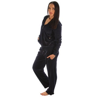 Darling Women's Rhinestone Shoulder Velour 2-piece Jacket and Pant Set