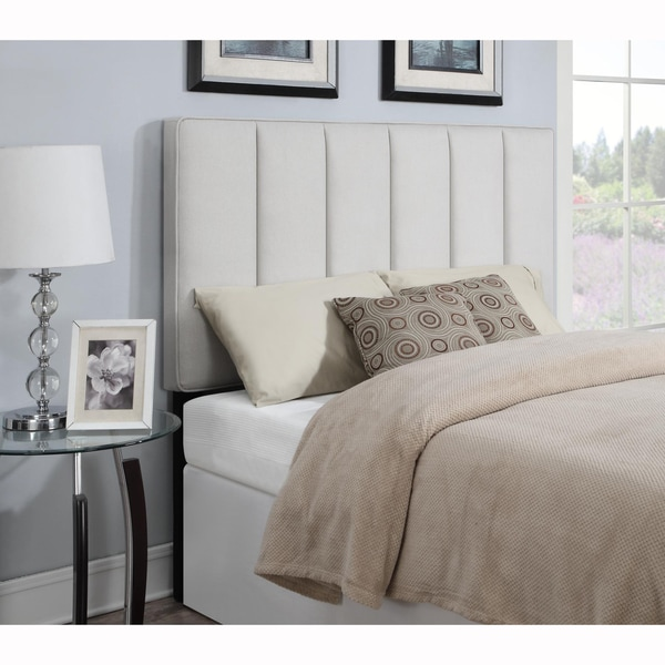 shop ivory king california king size upholstered panel headboard on sale free shipping today. Black Bedroom Furniture Sets. Home Design Ideas