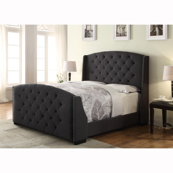 Wingback Button Tufted Dark Grey Queen Size Upholstered ...