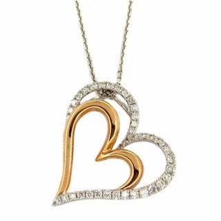 Kabella 18k Rose and White Gold 2/5ct TDW Diamond Double Heart Necklace (H-I, I1-I2)