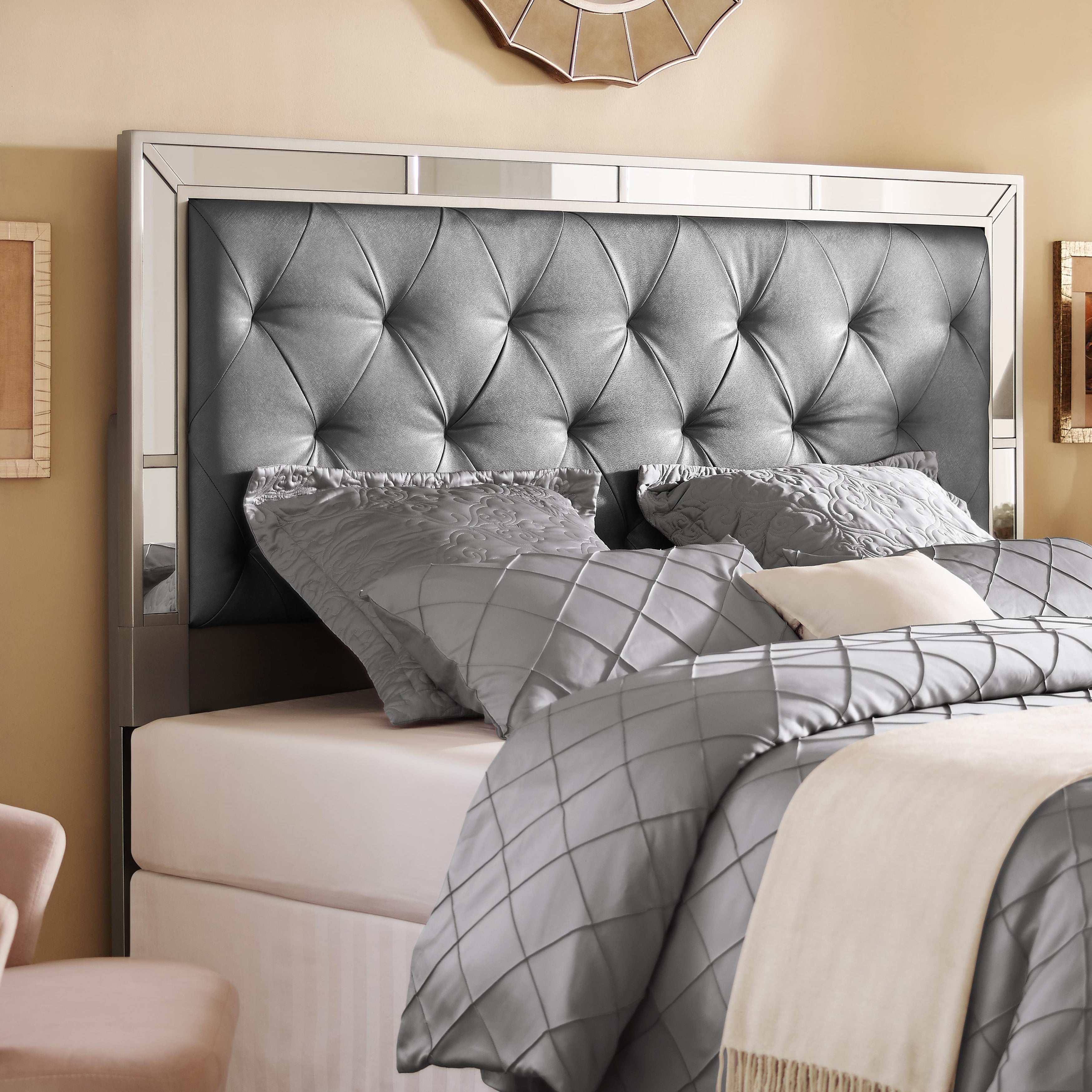 Shop Silver King California King Size Upholstered Tufted Mirrored