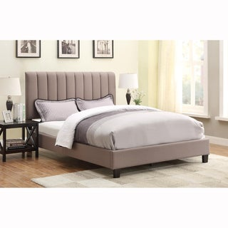 Taupe Queen Size Upholstered Panel Bed