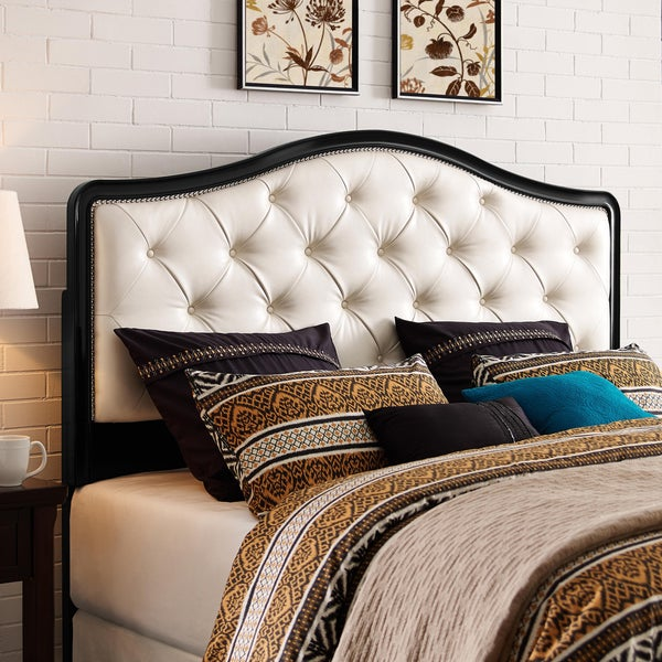 black and pearl king california king size upholstered tufted headboard free shipping today. Black Bedroom Furniture Sets. Home Design Ideas