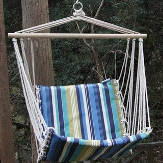 Tropical Palm Stripe Soft Comfort Hanging Hammock Chair