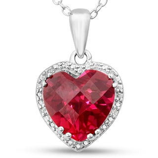 Sterling Silver Created Ruby and Diamond Accent Heart Necklace