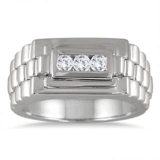 Marquee Jewels 10k White Gold Men's 1/4ct TDW Diamond 3-stone Ring (I-J, I1-I2)