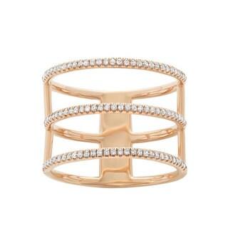 14k Yellow Gold 3/8ct TDW Diamond 3-row Fashion Ring (G-H, I1-I2)