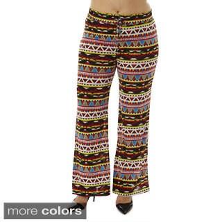 Women's Plus Size Tribal Sync Drawstring-waist Palazzo Pants