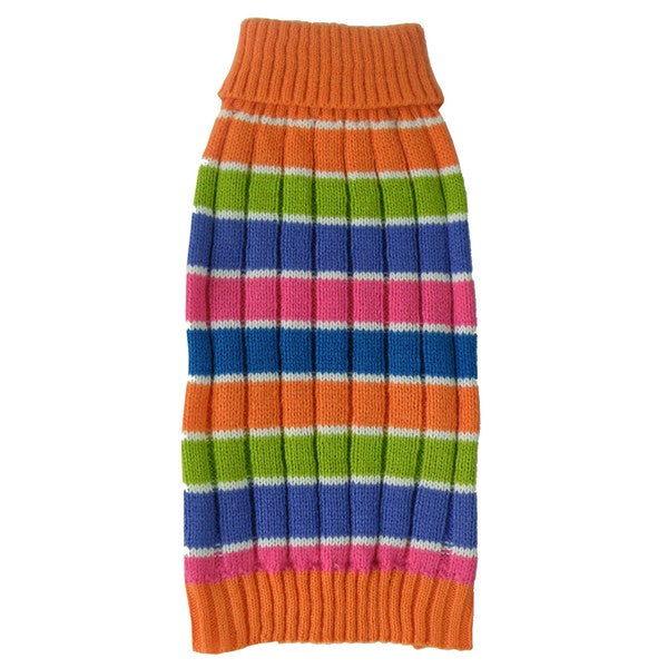 Tutti-beauty Rainbow Heavy Cable Knitted Ribbed Designer Turtle Neck Dog Sweater 15283914