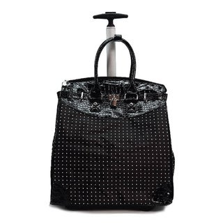 Classic Black Polka Dot Foldable Rolling Carry-on Tote Bag