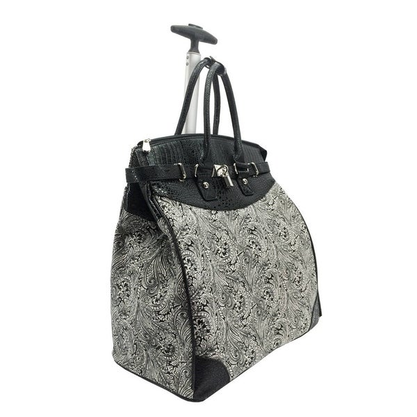 Graphic Paisley Foldable Rolling Carry-on 14-inch Laptop/Tablet Tote Bag. Opens flyout.