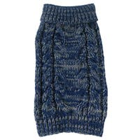 Classic True Blue Heavy Cable Knitted Ribbed Fashion Dog Sweater