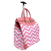 Princess Pink Chevron Rolling Carry-on Tote Bag