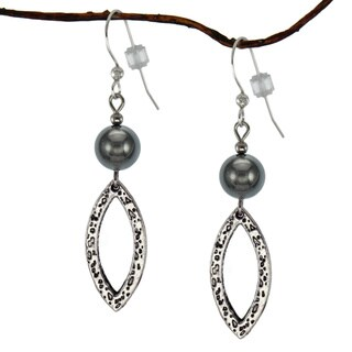 Jewelry by Dawn Hematite Antique Pewter Marquis Dangle Earrings (Michigan)