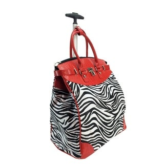 Classic Red Zebra Foldable Rolling Carry-on 14-inch Laptop/ Tablet Tote Bag