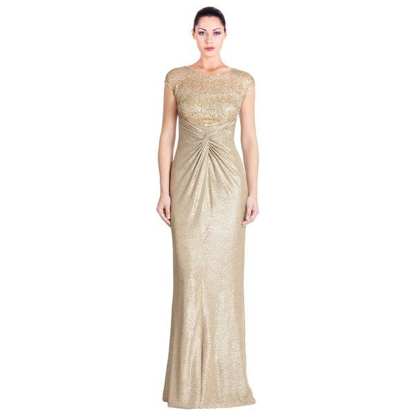 Shop David Meister Gold Lame Sequin Mesh Cap Sleeve Long Evening ... f86d4ede09ce