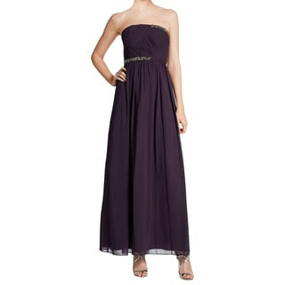 Ivanka Trump Purple Chiffon Strapless Embellished Evening Dress (Size 14)