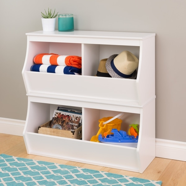Ordinaire Stacked 4 Bin Storage Cubby