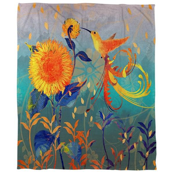 Daisy Hum Teal Coral Fleece Throw