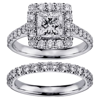 14k White Gold 2 4/5ct TDW Princess-cut Diamond Square Halo Bridal Ring Set