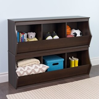 Prepac Monterey Wood Stacked 6-bin Storage Cubby