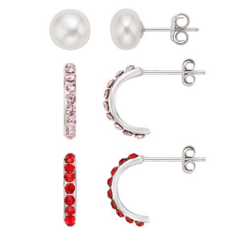 Pearlyta Kid's Sterling Silver Freshwater Pearl and Half Hoop Earrings Set - Pink