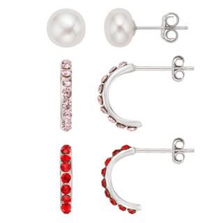 Pearlyta Kid's Sterling Silver Freshwater Pearl and Half Hoop Earrings Set