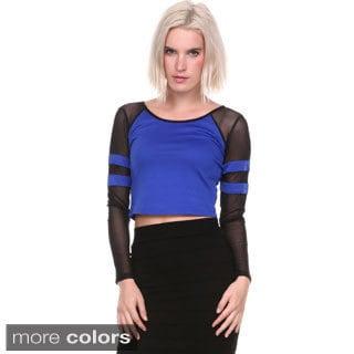 Stanzino Women's Colorblocked Long Sleeve Crop Top