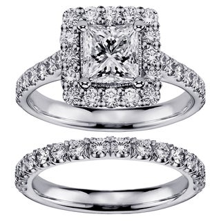14k White Gold 2 1/2ct TDW Princess-cut Square Halo Diamond Bridal Ring Set