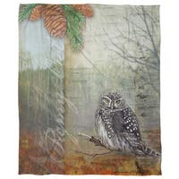 Conifer Lodge Owl Coral Fleece Throw
