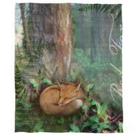 Conifer Lodge Fox Coral Fleece Throw