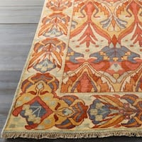 Hand-Knotted Penrith Border Indoor Wool Area Rug - 2' x 3'