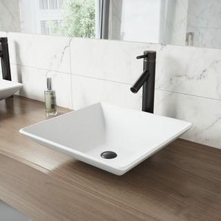 VIGO Hibiscus Matte Stone Vessel Bathroom Sink and Dior Faucet Set