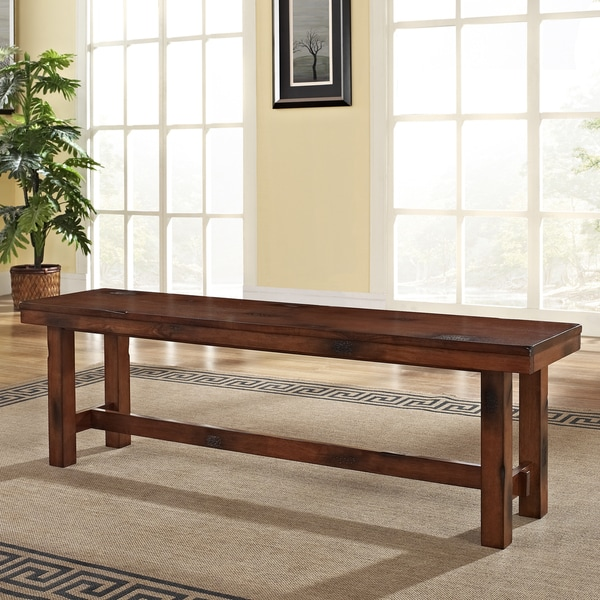 Distressed Dark Oak Wood Dining Bench