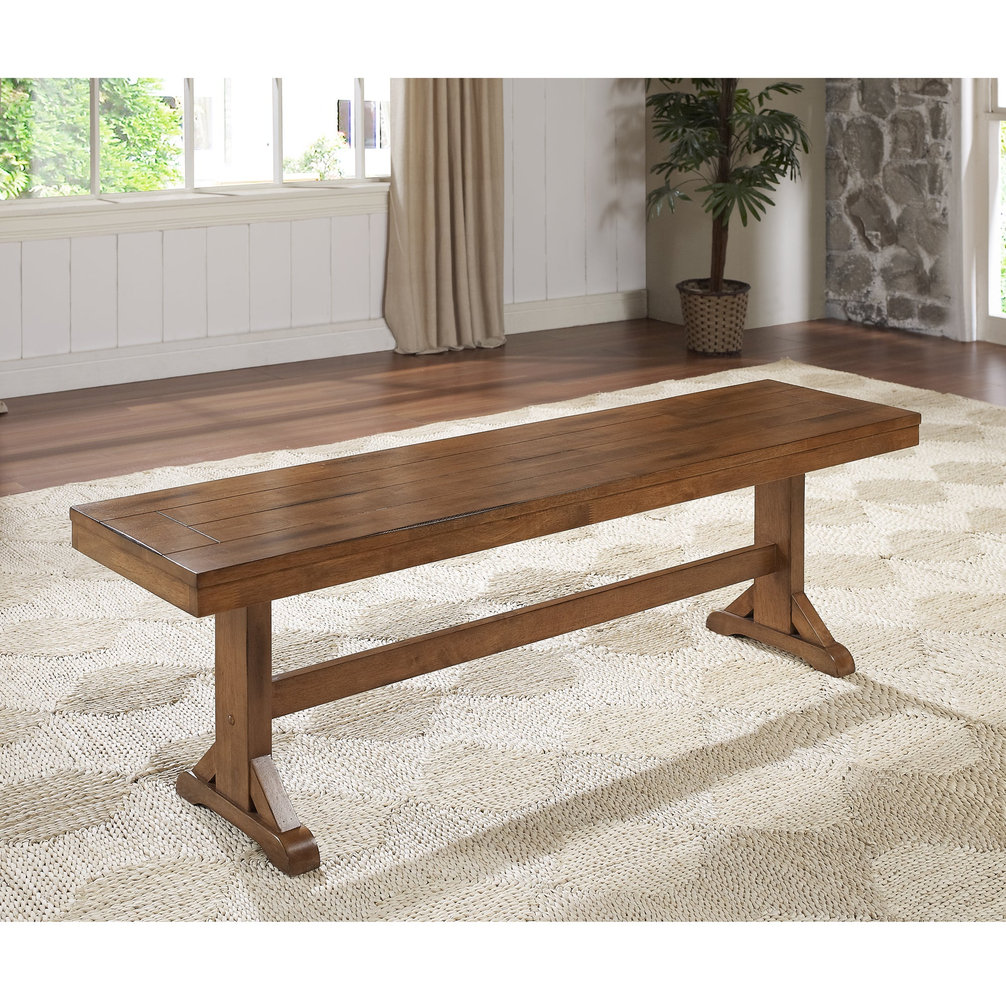 Walker Edison Farmhouse Chic Antique Brown Wood Dining Be...