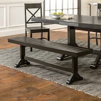 Countryside Chic Antique Black Wood Dining Bench - 60 x 14 x 18h