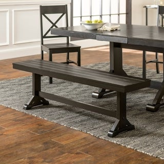 Countryside Chic Antique Black Wood Dining Bench