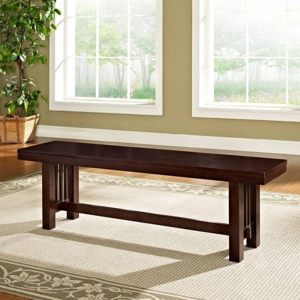 Contemporary Brown 60 Inch Single Wood Dining Bench
