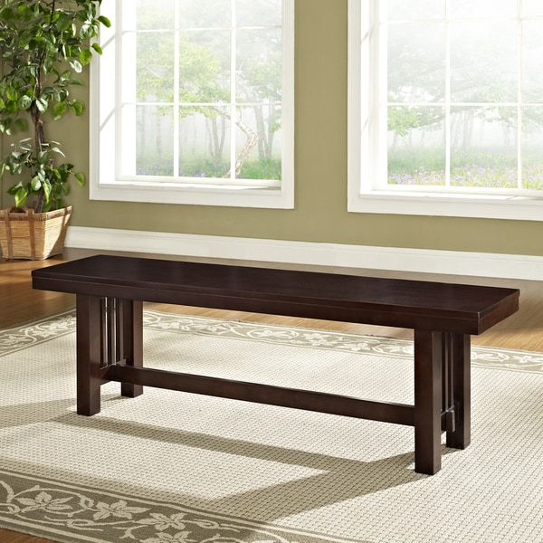 Contemporary Brown 60-inch Single Wood Dining Bench - Contemporary Brown 60-inch Single Wood Dining Bench - Free