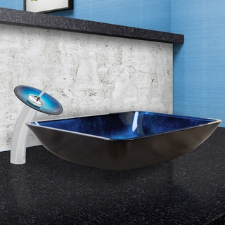VIGO Rectangular Turquoise Water Glass Vessel Sink and Waterfall Faucet Set in Chrome Finish
