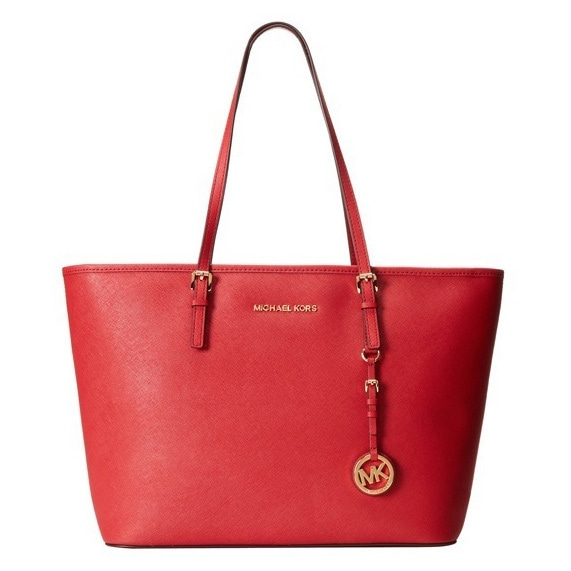 c308550a69269c Shop Michael Kors Jet Set Saffiano Medium Chili Tote Bag - On Sale - Free  Shipping Today - Overstock - 10092036