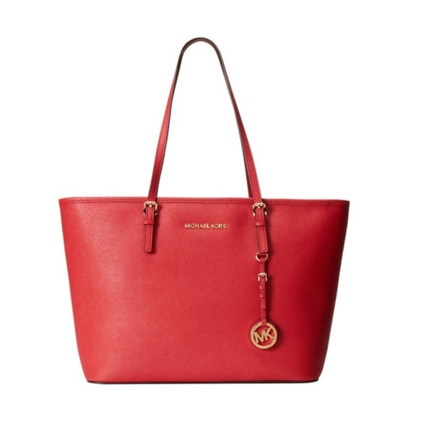 Michael Kors Jet Set Saffiano Medium Chili Tote Bag