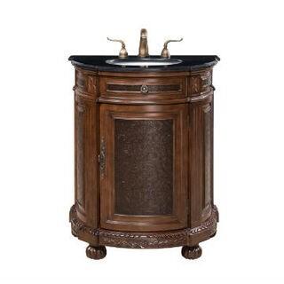 Single Sink Round Vanity with Black Marble Top