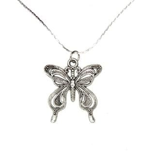 Handmade Tibetan Silver Butterfly Necklace (China)