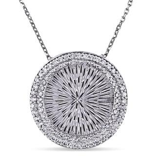 Miadora Signature Collection 14k White Gold 1 2ct TDW Diamond Circle Necklace