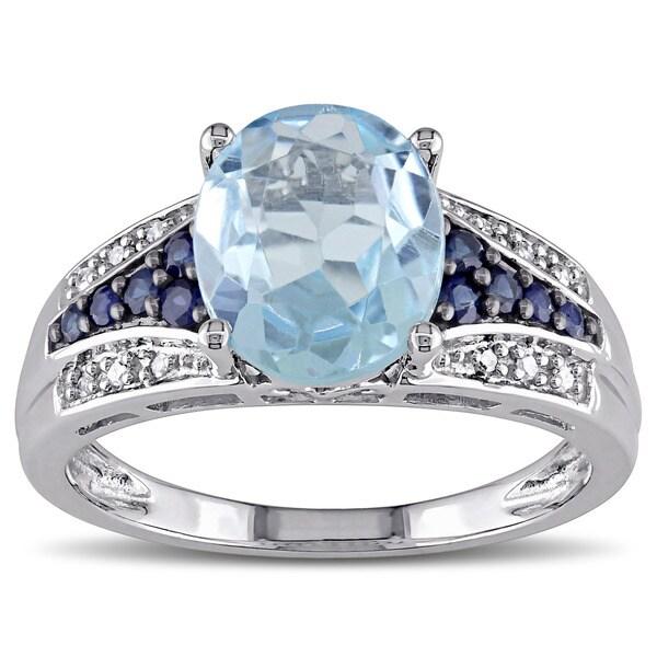 Miadora 10k White Gold Sapphire Blue Topaz Diamond Accent Cocktail Ring