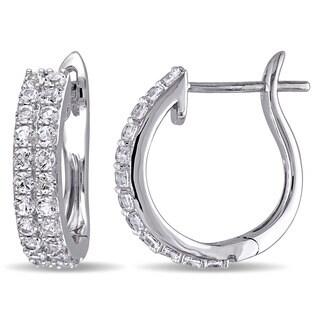 Miadora 10k White Gold Created White Sapphire Pin Hoop Earrings